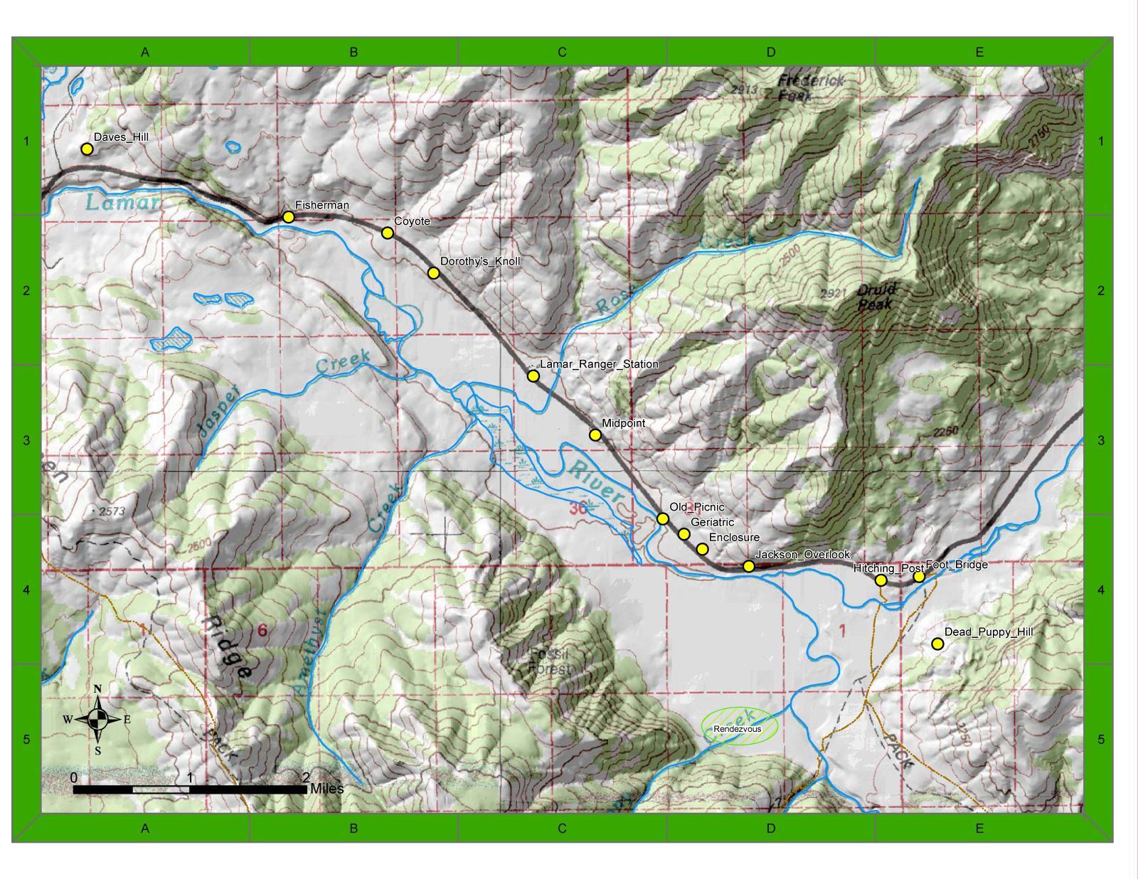 Lamar Valley Map | compressportnederland